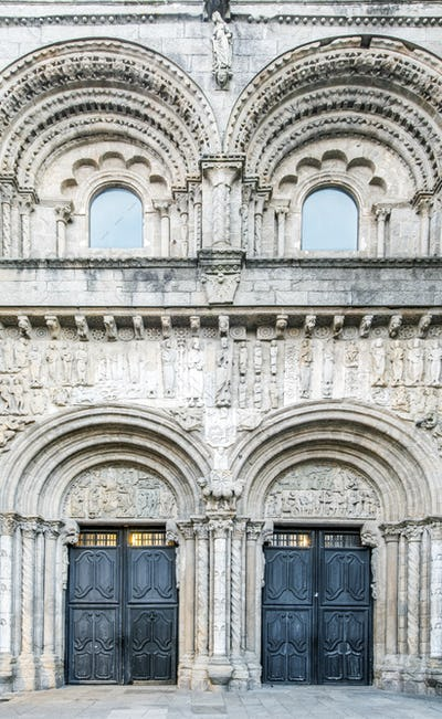 Ornate arches on cathedral exterior