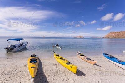 colorful kayaks, Isla Espiritu,Sea of Cortes