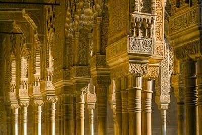 Ornate pillars in Alhambra, Granada, Andalusia, Spain