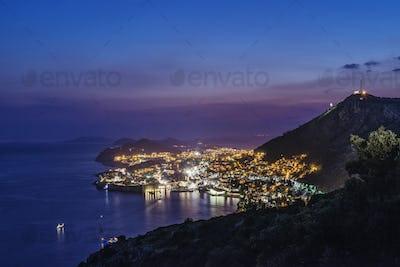 Aerial view of coastal city illuminated at night, Dubrovnik, Dubrovnik-Neretva, Croatia