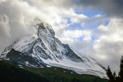 Matterhorn mountain and cloudy sky, Zermatt, Switzerland