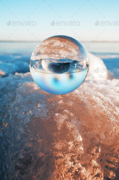 Crystal ball on glacier