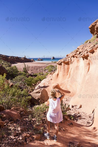 Woman hiking near the Sea of Cortes