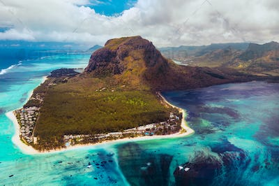 A bird's-eye view of Le Morne Brabant, a UNESCO world heritage site.Coral reef of the island of