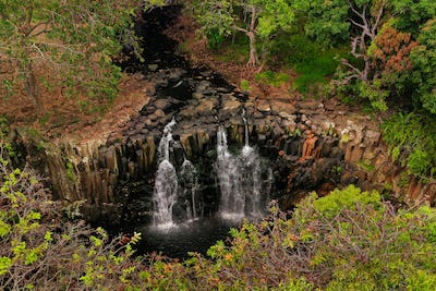 Rochester Falls On The Island Of Mauritius.Waterfall in the jungle of the tropical island of