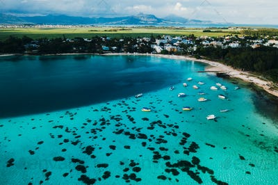 Aerial picture of the east coast of Mauritius Island. Beautiful lagoon of Mauritius Island shot from