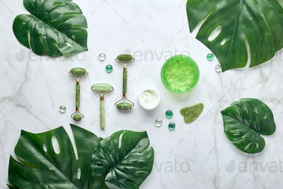 Cosmetic skin care products, jade stone face massager