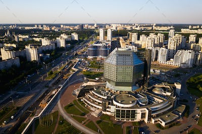 Top view of the National library and a new neighborhood with a Park in Minsk.Belarus, public