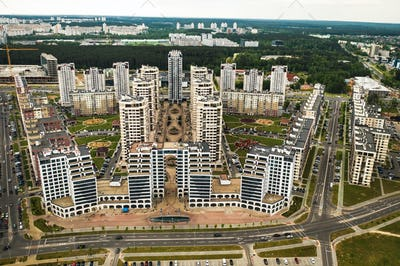 View from the height of the new district in the city of Minsk.Architecture of the city of Minsk.A