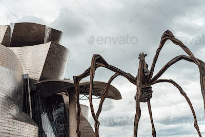 Detail of the Guggenheim museum building by Frank O. Gehry in Bilbao, Spain