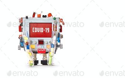 Robotic computer and coronavirus COVID 19 message