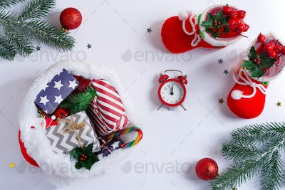 Holiday card with festive Christmas decoration and gifts
