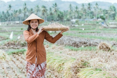 Javanese farmers bring their rice crops with woven bamboo trays
