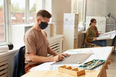 Architect Wearing Mask in Office