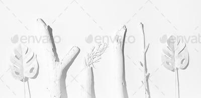 Fashion still life winter scene. White painted Brunch.  Minimal stylish winter cold colours design
