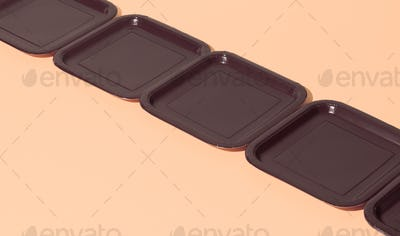Plastic plate in isometric on beige background. Minimal. Still life art. Plastic free concept