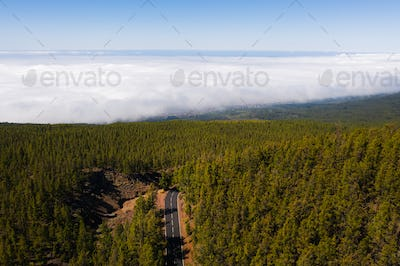 Cloud sea under mount Teide in Tenerife, aerial View over clouds on the island of Tenerife. Canary