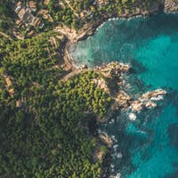AERIAL: Tropical Coastline with Rich Colours and Turquoise Water in Spain