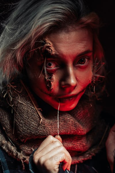 Scary photography of scarecrow cosplay in dark background