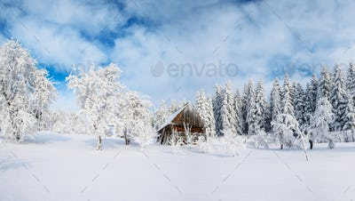 Cabin in the mountains in winter. Mysterious fog. In anticipation of holidays. Carpathians. Ukraine