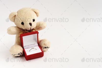 stylish luxury ring with diamond in red box and teddy bear