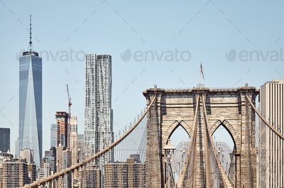 Brooklyn Bridge with Manhattan skyline in background, NYC.