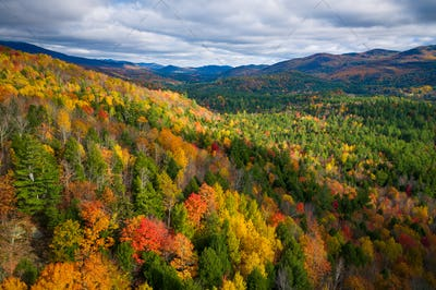 Aerial view of Mountain Forests in Autumn with Fall Colors in New England
