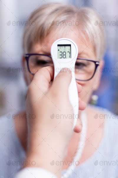 Thermometer showing body temperature