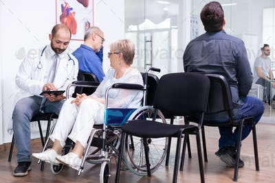 Handicapped patient sitting in wheelchair