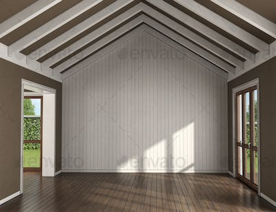 Empty living room with wooden wall on background