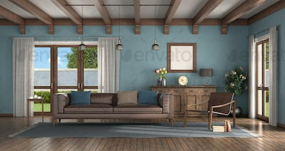 Classic style living room with blue walls