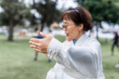 Mature chinese woman do tai chi outdoor
