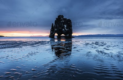 Hvitserkur is a spectacular rock in the sea on the Northern coast of Iceland. Legends say it is a