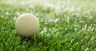 Golfball on green grass golf course, close up view.