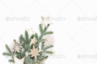 Christmas flat lay background on the white wooden table.