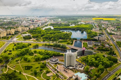 Top view of the victory Park in Minsk and the Svisloch river.A bird's-eye view of the city of