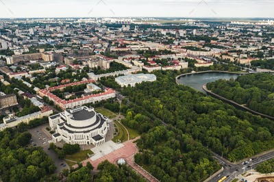 Top view of the building of the Bolshoi Opera and ballet theater and Park in Minsk.Public building