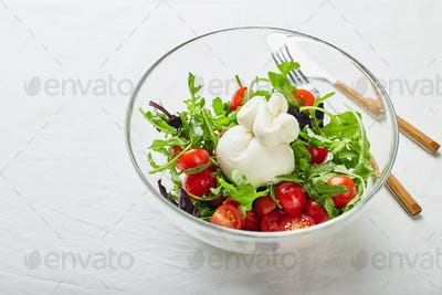 Burrata ch with tomato, arugula and red basil salad