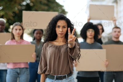 Multiracial group of demonstrators fighting for peace in the world