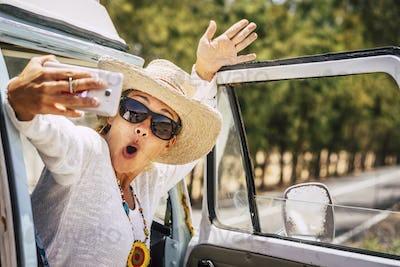 Joyful expression for beautiful caucasian adult traveler woman