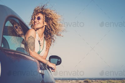 Attractive blonde young woman smile and enjoy travel