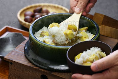japanese chestnut rice in earthenware pot