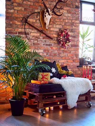 A room with Christmas decoration.