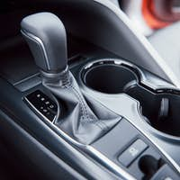 View of the interior of a modern automobile showing the dashboard. Automatic transmission