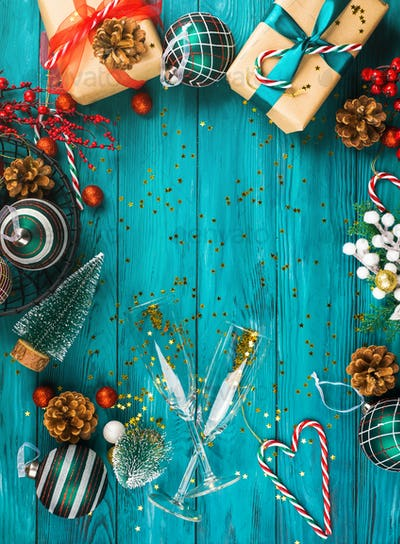 Christmas new year festive green background