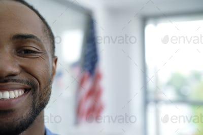Close up half face of black man