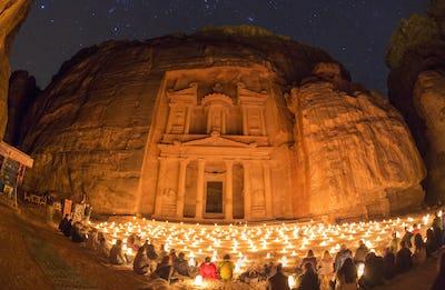 Rock-cut architecture of Al Khazneh or The Treasury at Petra, at night