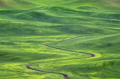 Winding irrigation ditch through rolling hills in rural landscape