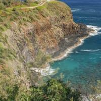 Kilauea Lighthouse on coastline, Hawaii, United States
