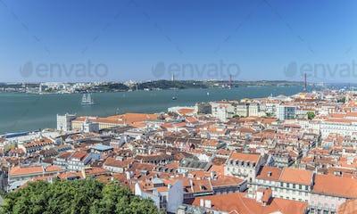 Aerial view of Lisbon cityscape, Lisbon, Portugal